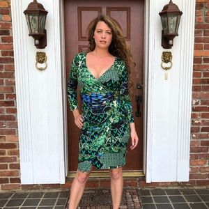 Roberto Cavalli Faux Wrap Long Sleeve Dress Size S